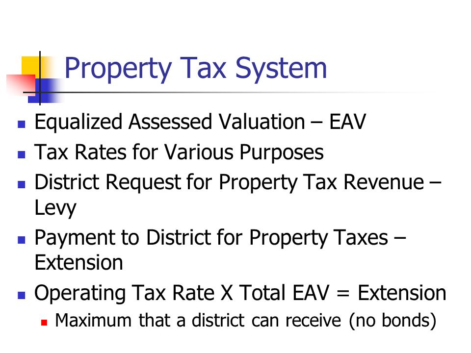 Property Tax System Equalized Assessed Valuation – EAV Tax Rates for Various Purposes District Request for Property Tax Revenue – Levy Payment to Dist