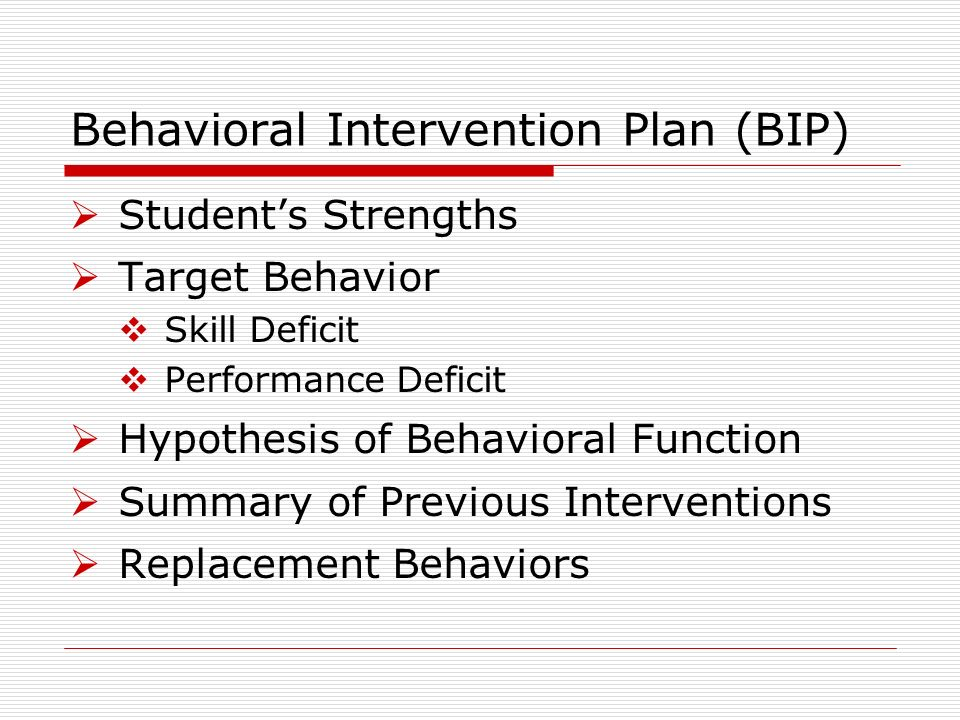 Behavioral Intervention Plan (BIP) Students Strengths Target Behavior Skill Deficit Performance Deficit Hypothesis of Behavioral Function Summary of Previous Interventions Replacement Behaviors