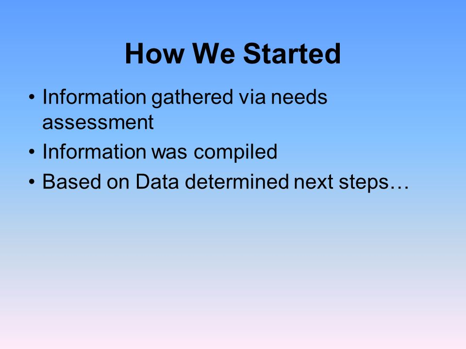 How We Started Information gathered via needs assessment Information was compiled Based on Data determined next steps…