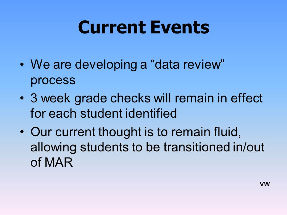 Current Events We are developing a data review process 3 week grade checks will remain in effect for each student identified Our current thought is to