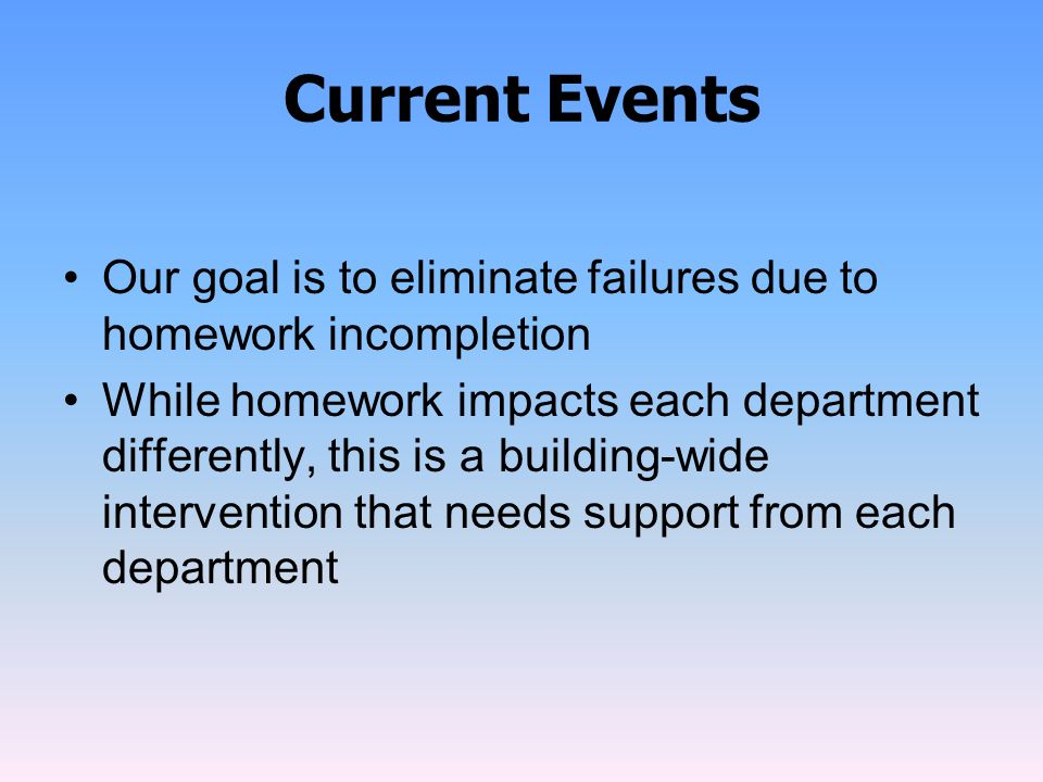 Current Events Our goal is to eliminate failures due to homework incompletion While homework impacts each department differently, this is a building-w