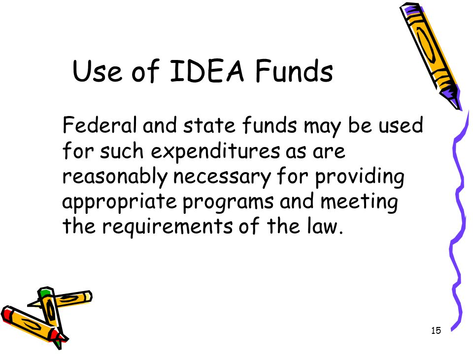 15 Use of IDEA Funds Federal and state funds may be used for such expenditures as are reasonably necessary for providing appropriate programs and meeting the requirements of the law.