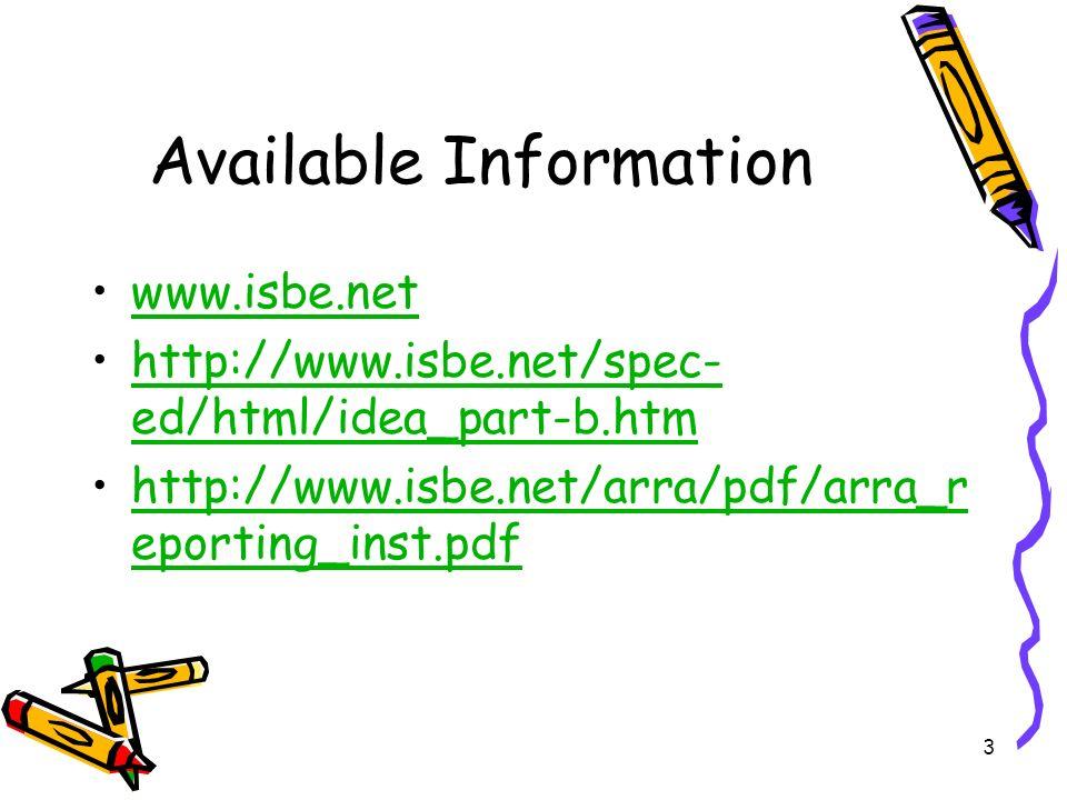3 Available Information www.isbe.net http://www.isbe.net/spec- ed/html/idea_part-b.htmhttp://www.isbe.net/spec- ed/html/idea_part-b.htm http://www.isbe.net/arra/pdf/arra_r eporting_inst.pdfhttp://www.isbe.net/arra/pdf/arra_r eporting_inst.pdf