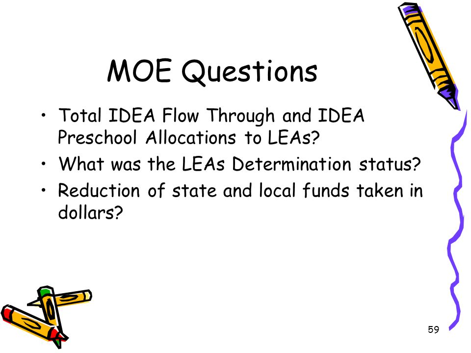 59 MOE Questions Total IDEA Flow Through and IDEA Preschool Allocations to LEAs.