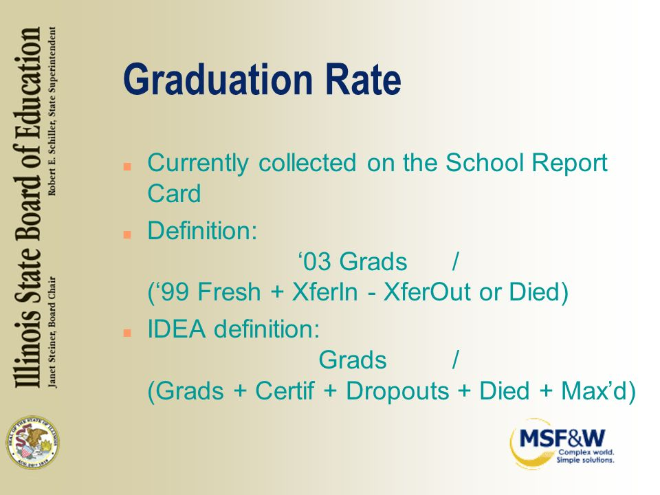 Graduation Rate n Currently collected on the School Report Card n Definition: 03 Grads/ (99 Fresh + XferIn - XferOut or Died) n IDEA definition: Grads/ (Grads + Certif + Dropouts + Died + Maxd)
