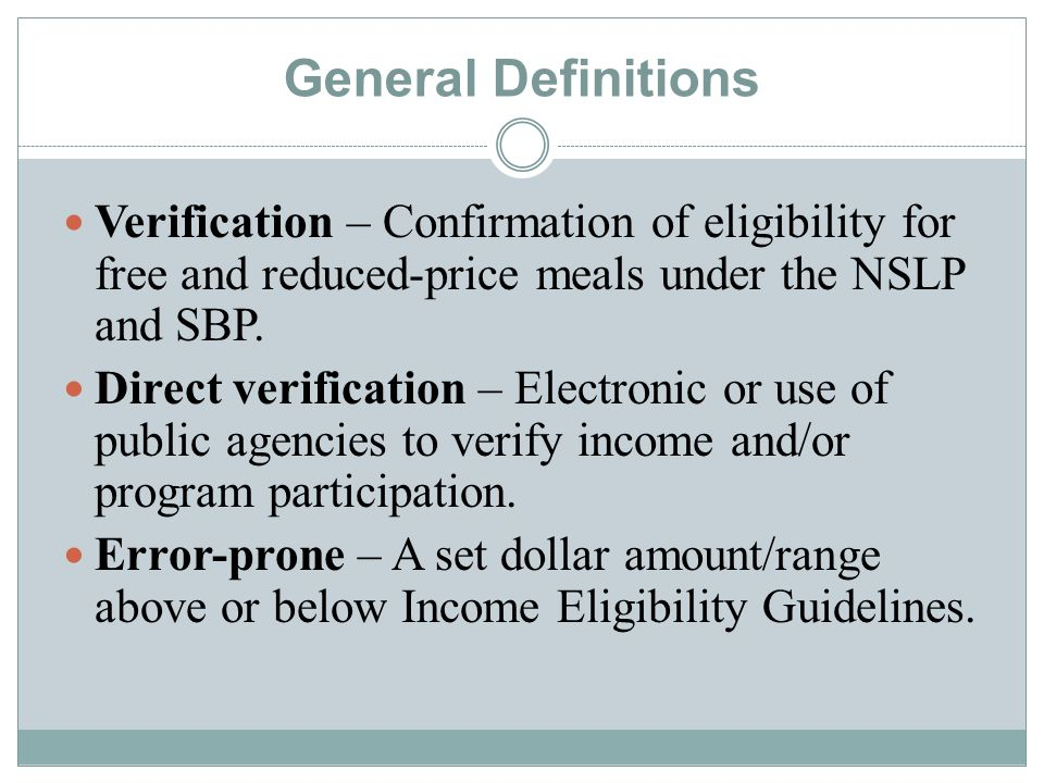 General Definitions Random sampling – Each household application has an equal chance of being selected.