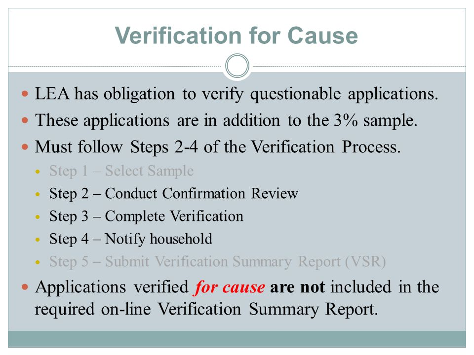 Verification for Cause LEA has obligation to verify questionable applications.