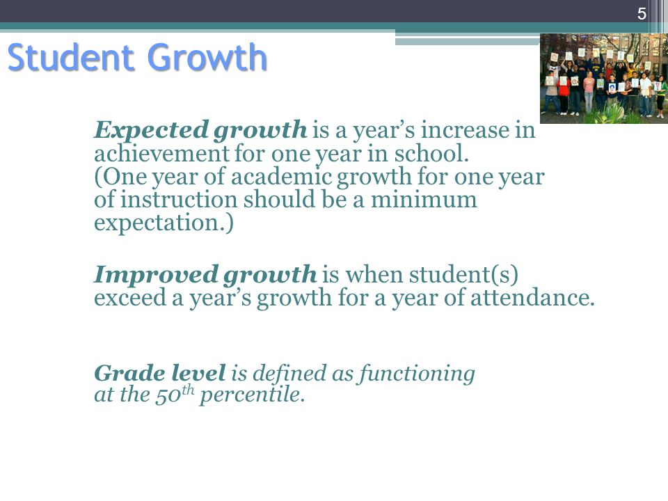 Student Growth Expected growth is a years increase in achievement for one year in school.