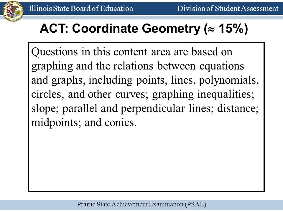 Division of Student Assessment Prairie State Achievement Examination (PSAE) Illinois State Board of Education Division of Student Assessment Questions in this content area are based on graphing and the relations between equations and graphs, including points, lines, polynomials, circles, and other curves; graphing inequalities; slope; parallel and perpendicular lines; distance; midpoints; and conics.