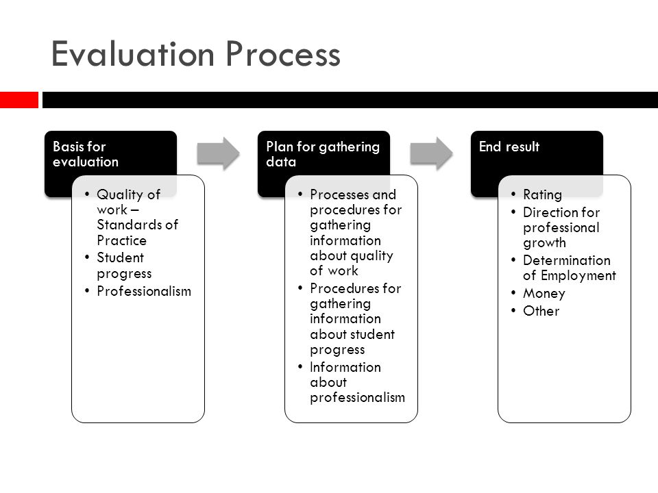 Evaluation Process Basis for evaluation Quality of work – Standards of Practice Student progress Professionalism Plan for gathering data Processes and procedures for gathering information about quality of work Procedures for gathering information about student progress Information about professionalism End result Rating Direction for professional growth Determination of Employment Money Other