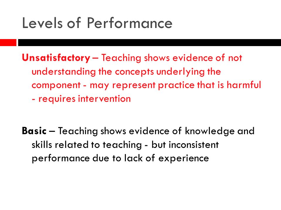 Levels of Performance Unsatisfactory – Teaching shows evidence of not understanding the concepts underlying the component - may represent practice tha