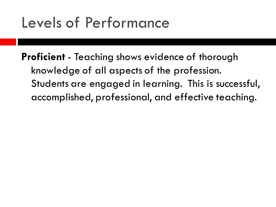 Levels of Performance Proficient - Teaching shows evidence of thorough knowledge of all aspects of the profession.