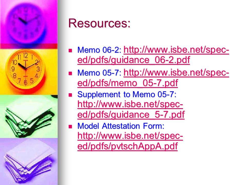 Resources: Memo 06-2: http://www.isbe.net/spec- ed/pdfs/guidance_06-2.pdf Memo 06-2: http://www.isbe.net/spec- ed/pdfs/guidance_06-2.pdf http://www.is