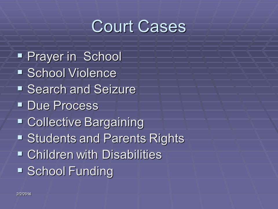 2/2/2014 Court Cases Prayer in School Prayer in School School Violence School Violence Search and Seizure Search and Seizure Due Process Due Process C