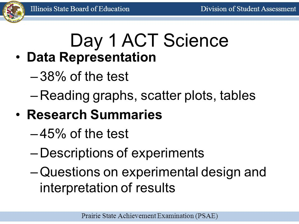 Division of Student Assessment Prairie State Achievement Examination (PSAE) Illinois State Board of Education Day 1 ACT Science Data Representation –38% of the test –Reading graphs, scatter plots, tables Research Summaries –45% of the test –Descriptions of experiments –Questions on experimental design and interpretation of results