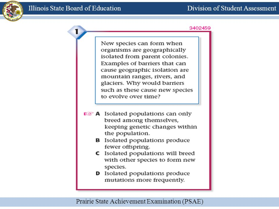 Division of Student Assessment Prairie State Achievement Examination (PSAE) Illinois State Board of Education