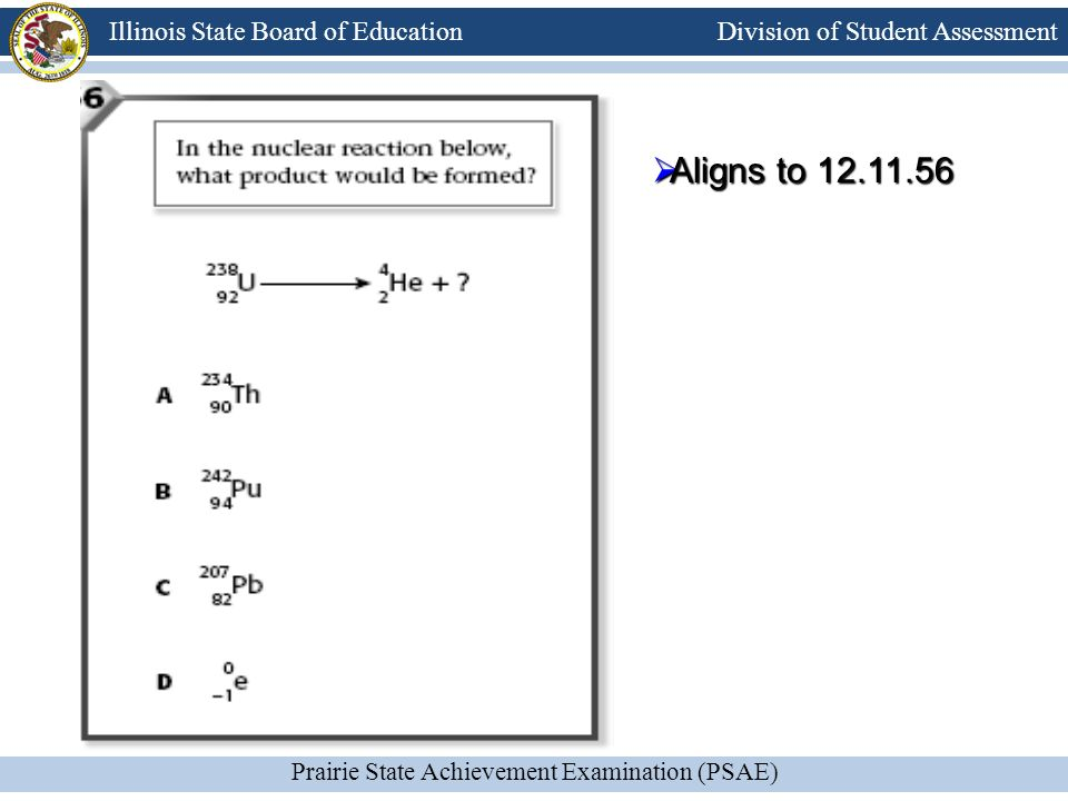 Division of Student Assessment Prairie State Achievement Examination (PSAE) Illinois State Board of Education Aligns to 12.11.56 Aligns to 12.11.56