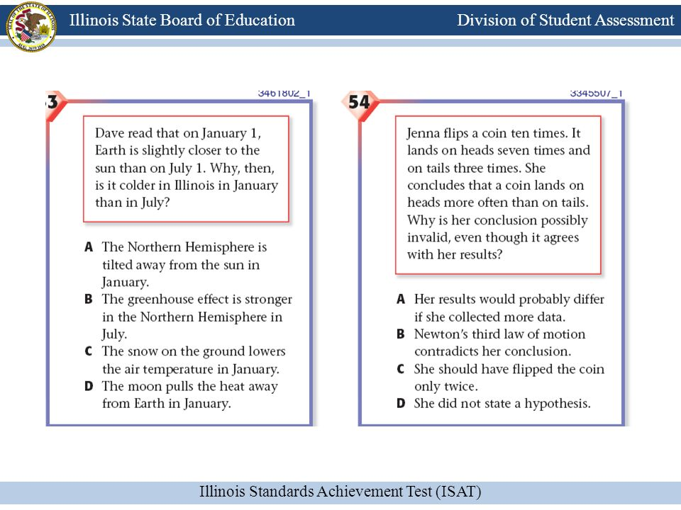 Division of Student Assessment Illinois Standards Achievement Test (ISAT) Illinois State Board of Education