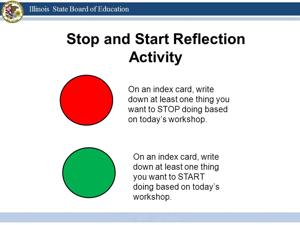Stop and Start Reflection Activity On an index card, write down at least one thing you want to STOP doing based on todays workshop.