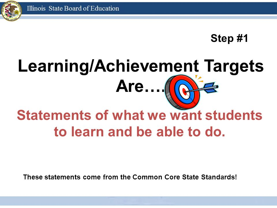 Learning/Achievement Targets Are…. Statements of what we want students to learn and be able to do.