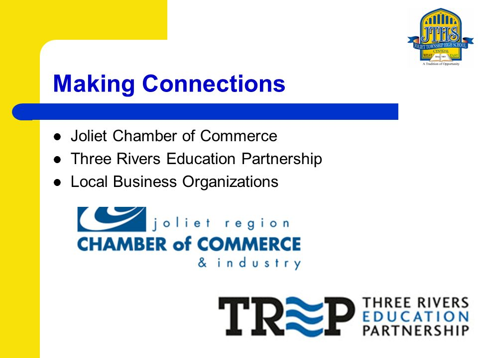 Making Connections Joliet Chamber of Commerce Three Rivers Education Partnership Local Business Organizations