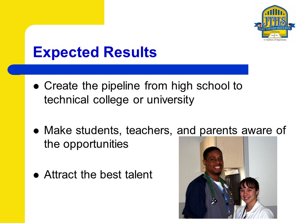 Expected Results Create the pipeline from high school to technical college or university Make students, teachers, and parents aware of the opportunities Attract the best talent