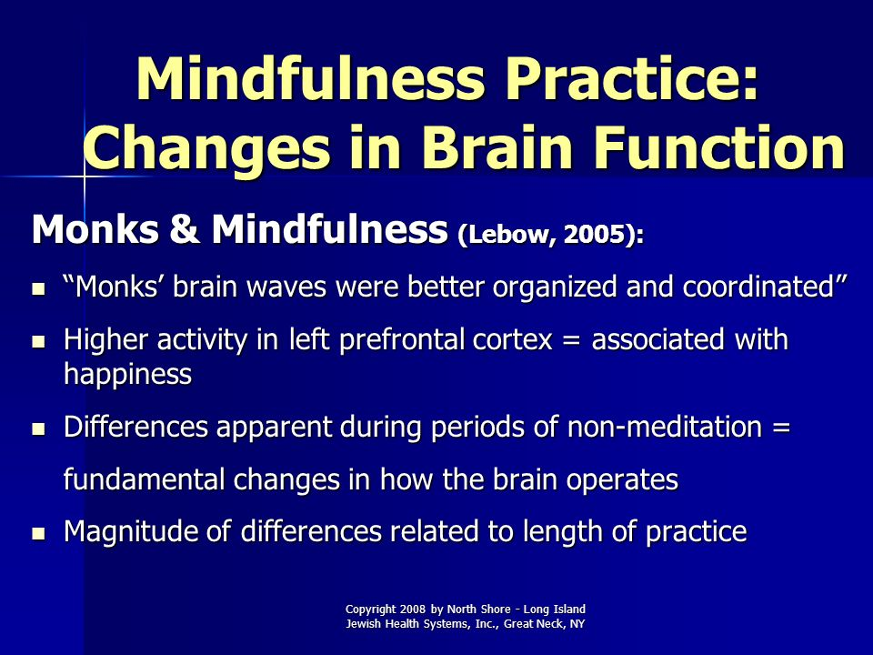 Copyright 2008 by North Shore - Long Island Jewish Health Systems, Inc., Great Neck, NY Mindfulness Practice: Changes in Brain Function Monks & Mindfu