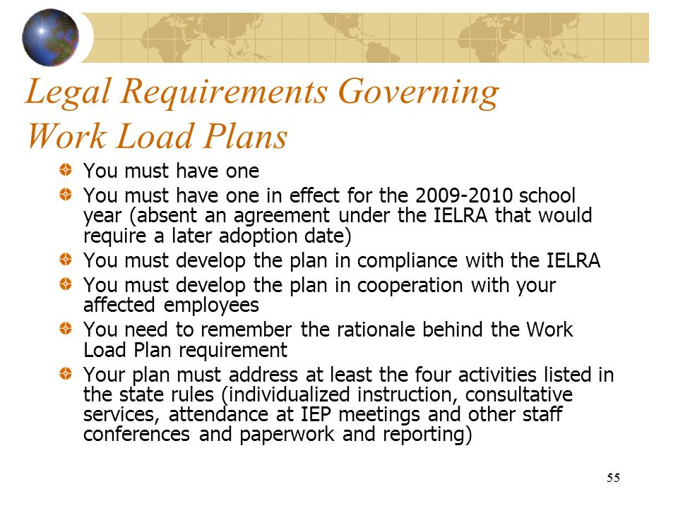 55 Legal Requirements Governing Work Load Plans You must have one You must have one in effect for the 2009-2010 school year (absent an agreement under
