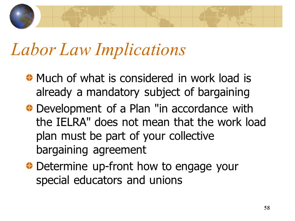 58 Labor Law Implications Much of what is considered in work load is already a mandatory subject of bargaining Development of a Plan