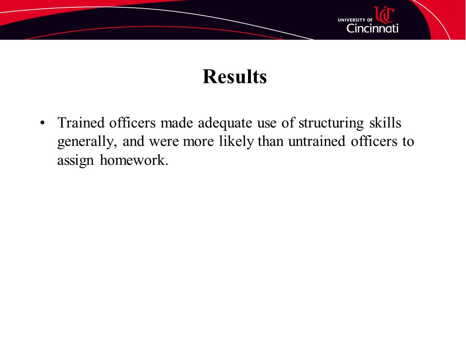 Results Trained officers made adequate use of structuring skills generally, and were more likely than untrained officers to assign homework.