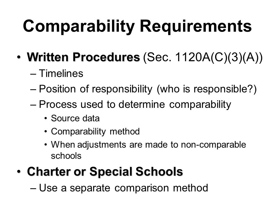 Comparability Requirements Written ProceduresWritten Procedures (Sec. 1120A(C)(3)(A)) –Timelines –Position of responsibility (who is responsible?) –Pr