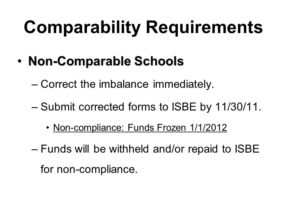 Non-Comparable SchoolsNon-Comparable Schools –Correct the imbalance immediately. –Submit corrected forms to ISBE by 11/30/11. Non-compliance: Funds Fr