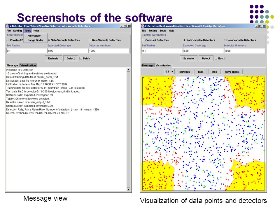 Screenshots of the software Message view Visualization of data points and detectors