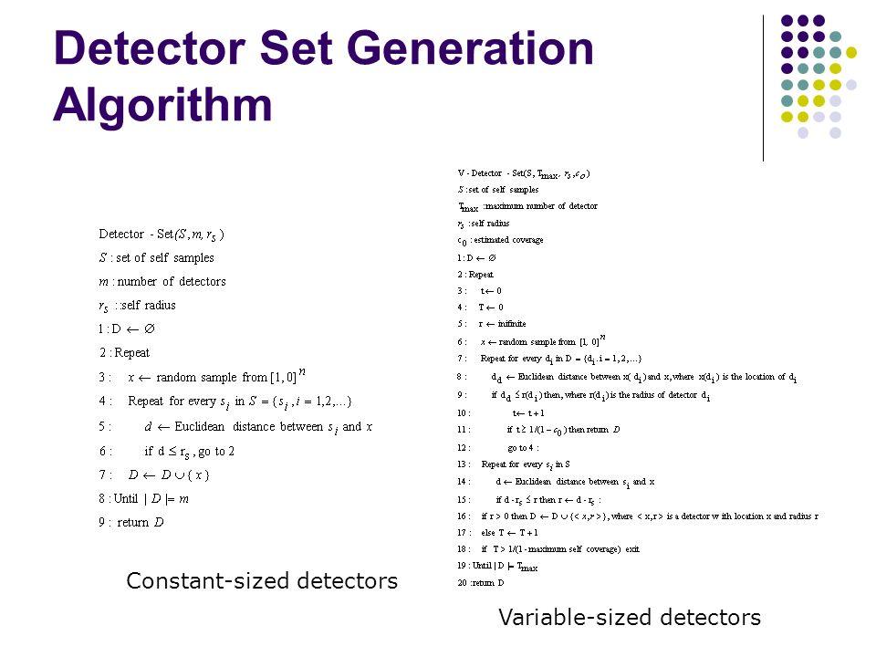 Detector Set Generation Algorithm Constant-sized detectors Variable-sized detectors