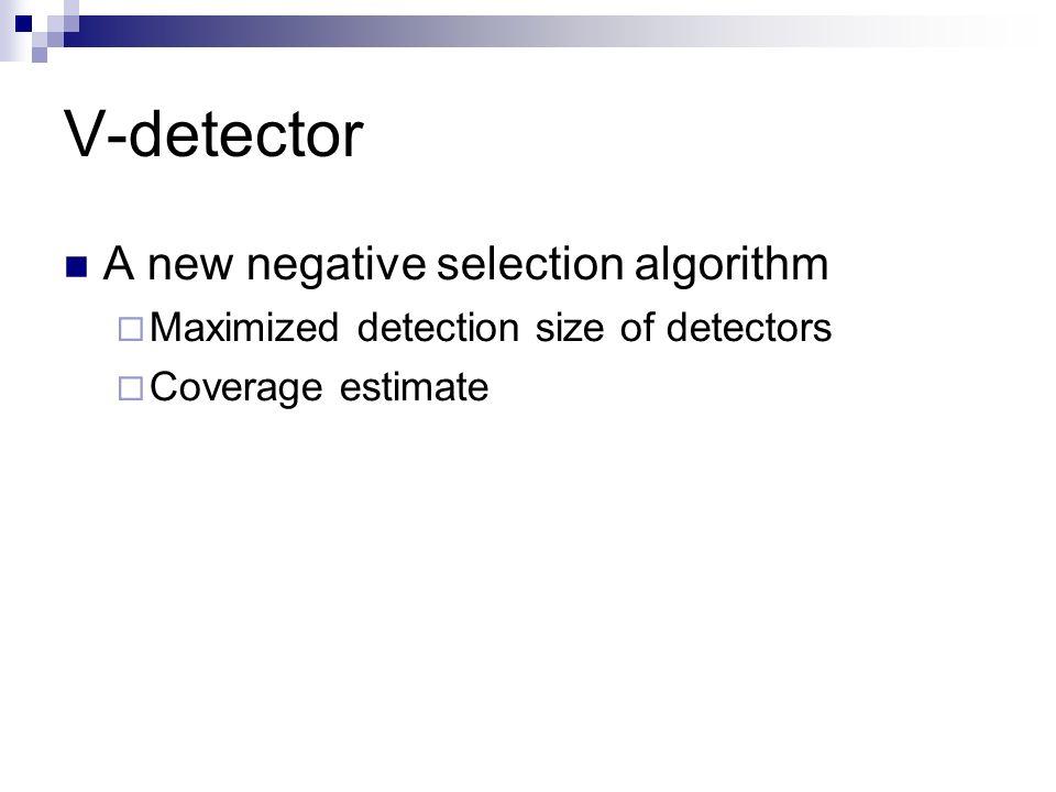 V-detector A new negative selection algorithm Maximized detection size of detectors Coverage estimate