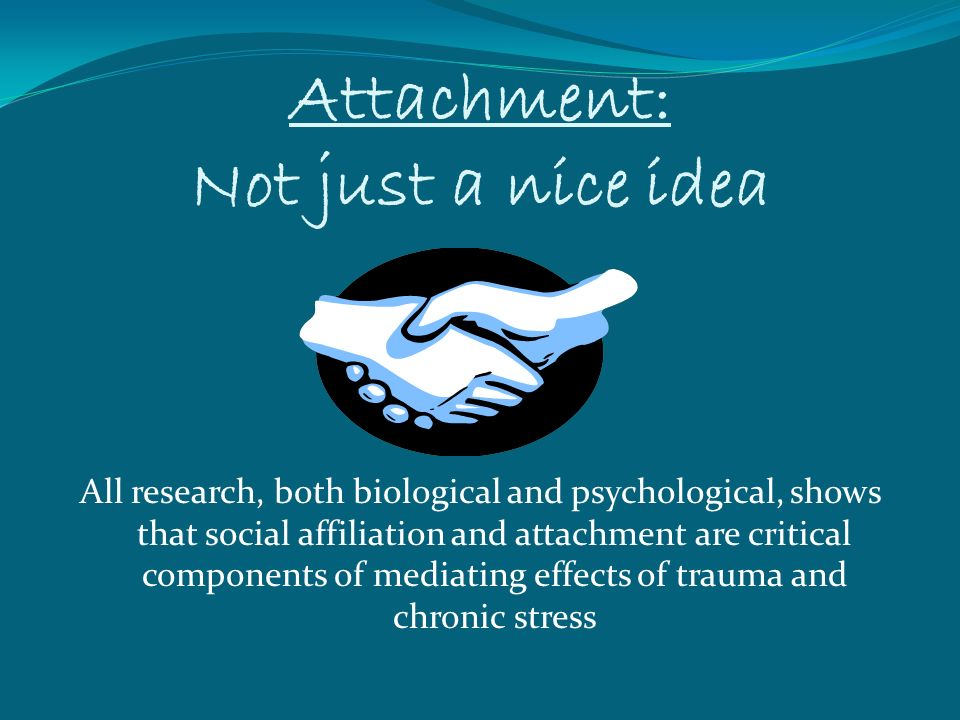 Attachment: Not just a nice idea All research, both biological and psychological, shows that social affiliation and attachment are critical components