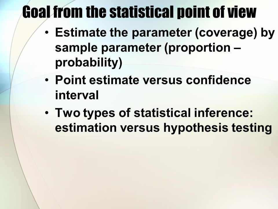 Statistical basics used in this method Central limit theory Sample mean approximately follows normal distribution Hypothesis testing Testing the hypothesis (e.g.