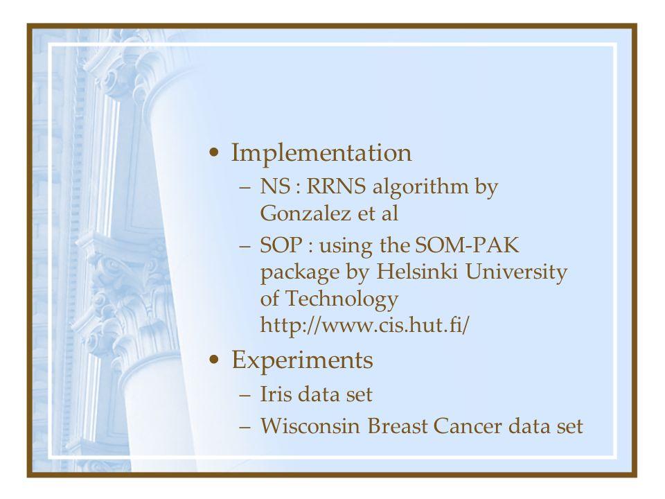 Implementation –NS : RRNS algorithm by Gonzalez et al –SOP : using the SOM-PAK package by Helsinki University of Technology http://www.cis.hut.fi/ Exp