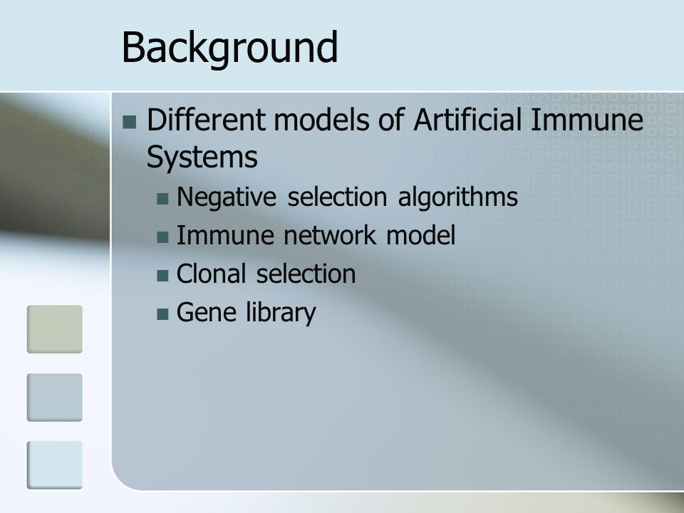 Background Different models of Artificial Immune Systems Negative selection algorithms Immune network model Clonal selection Gene library