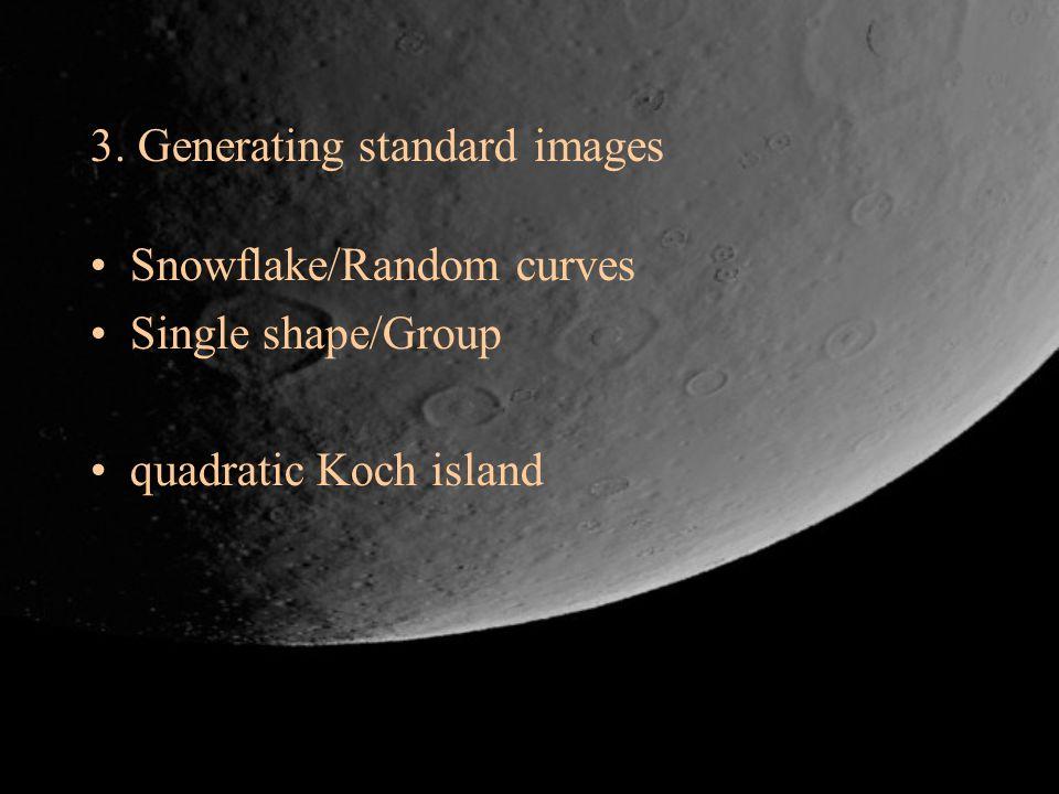 3. Generating standard images Snowflake/Random curves Single shape/Group quadratic Koch island