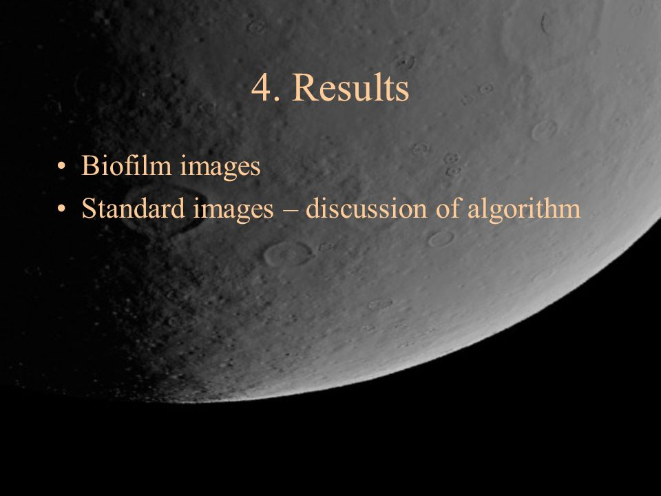 4. Results Biofilm images Standard images – discussion of algorithm