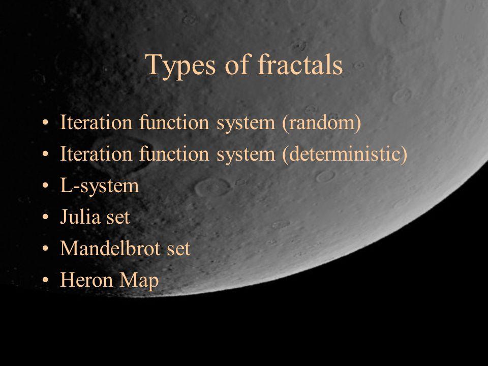 Types of fractals Iteration function system (random) Iteration function system (deterministic) L-system Julia set Mandelbrot set Heron Map