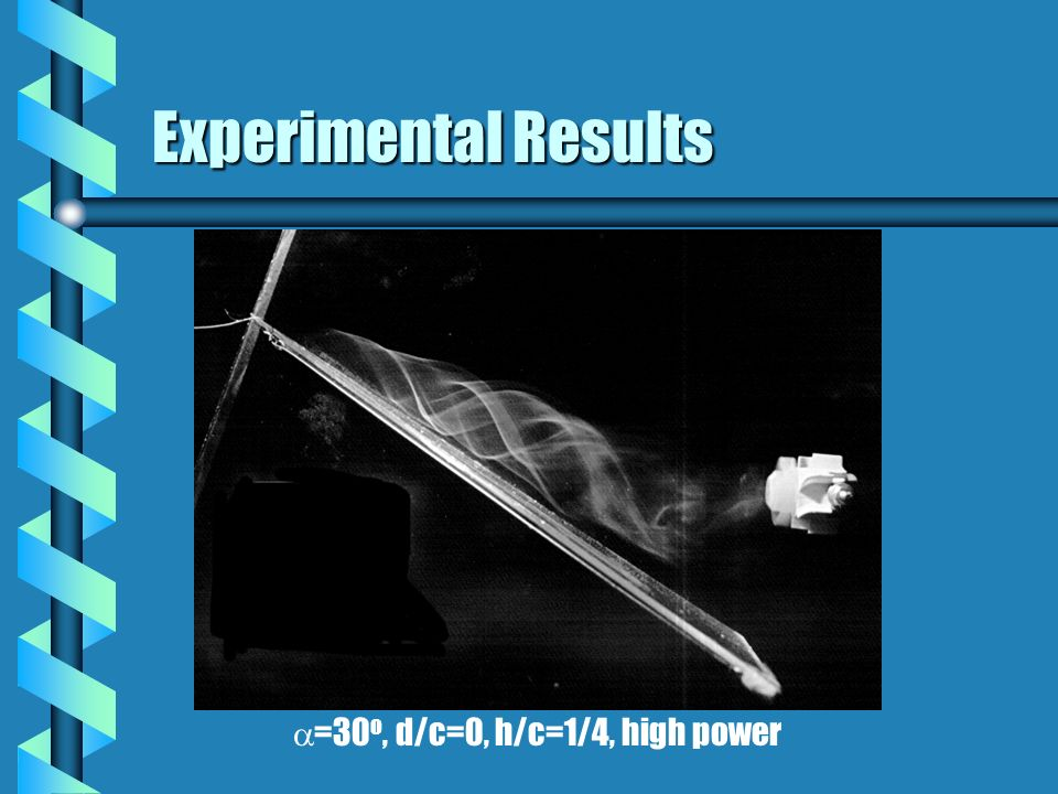 Experimental Results =30 o, d/c=0, h/c=1/4, high power