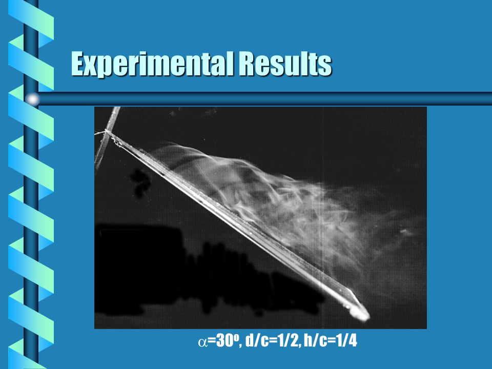 Experimental Results =30 o, d/c=1/2, h/c=1/4