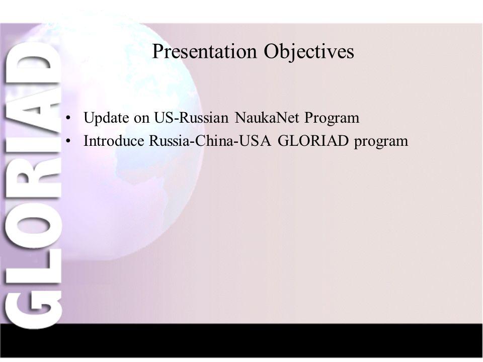 IntroductionNauka-NetCIV-NetFriendsGridsThe Future Presentation Objectives Update on US-Russian NaukaNet Program Introduce Russia-China-USA GLORIAD program