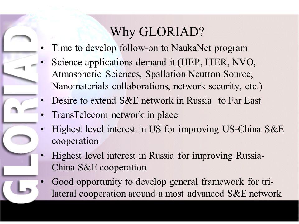 IntroductionNauka-NetCIV-NetFriendsGridsThe Future Why GLORIAD? Time to develop follow-on to NaukaNet program Science applications demand it (HEP, ITE