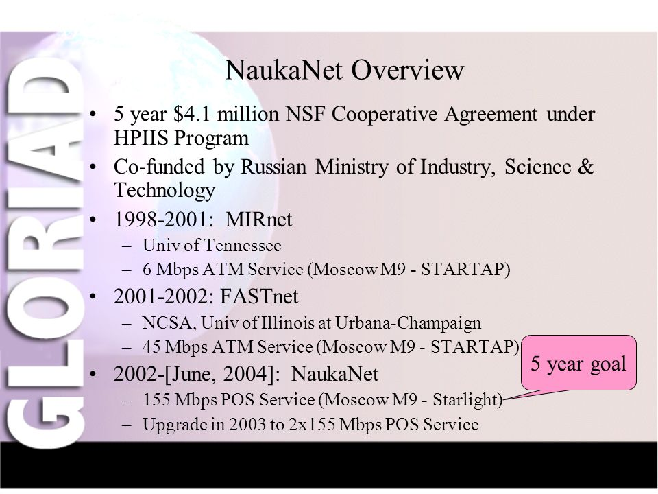 IntroductionNauka-NetCIV-NetFriendsGridsThe Future NaukaNet Overview 5 year $4.1 million NSF Cooperative Agreement under HPIIS Program Co-funded by Russian Ministry of Industry, Science & Technology 1998-2001: MIRnet –Univ of Tennessee –6 Mbps ATM Service (Moscow M9 - STARTAP) 2001-2002: FASTnet –NCSA, Univ of Illinois at Urbana-Champaign –45 Mbps ATM Service (Moscow M9 - STARTAP) 2002-[June, 2004]: NaukaNet –155 Mbps POS Service (Moscow M9 - Starlight) –Upgrade in 2003 to 2x155 Mbps POS Service 5 year goal
