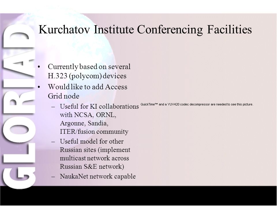 IntroductionNauka-NetCIV-NetFriendsGridsThe Future Kurchatov Institute Conferencing Facilities Currently based on several H.323 (polycom) devices Would like to add Access Grid node –Useful for KI collaborations with NCSA, ORNL, Argonne, Sandia, ITER/fusion community –Useful model for other Russian sites (implement multicast network across Russian S&E network) –NaukaNet network capable