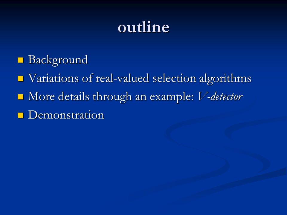 outline Background Background Variations of real-valued selection algorithms Variations of real-valued selection algorithms More details through an example: V-detector More details through an example: V-detector Demonstration Demonstration