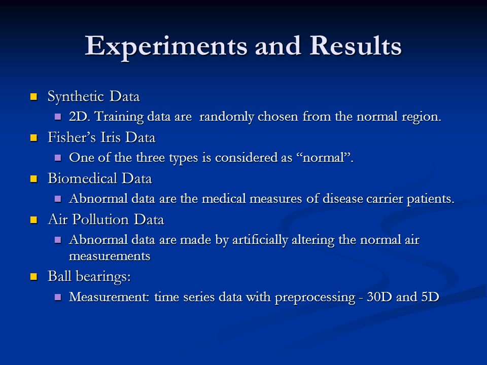 Experiments and Results Synthetic Data Synthetic Data 2D.